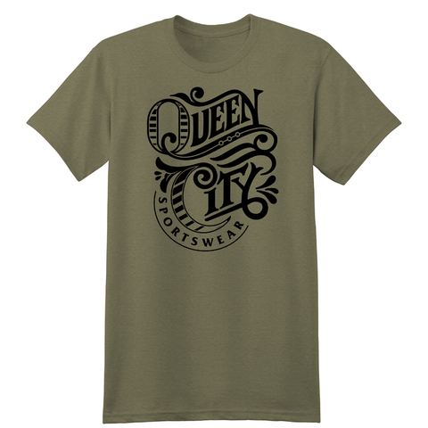 Queen City Sportswear logo tee - military green - 513shirts.com / Cincinnati Shirts