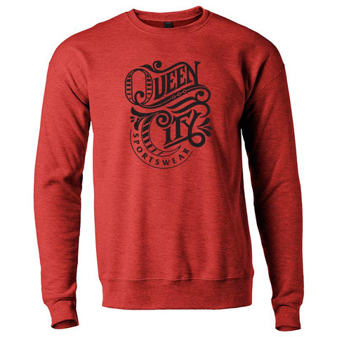 Queen City Sportswear logo crewneck - heather red - 513shirts.com / Cincinnati Shirts