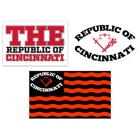 Republic of Cincinnati sticker pack - 513shirts.com / Cincinnati Shirts