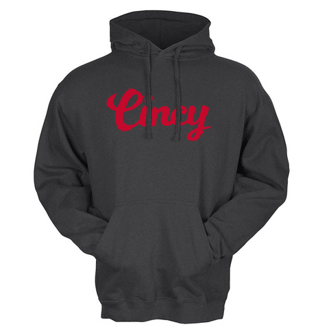 Cincy Script Hoodie - black/red - 513shirts.com / Cincinnati Shirts