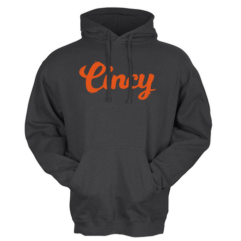 Cincy Script Hoodie - black/orange - 513shirts.com / Cincinnati Shirts