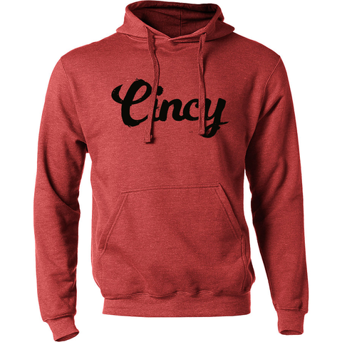 Cincy Script Hoodie - red/black - 513shirts.com / Cincinnati Shirts