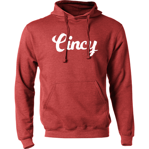 Cincy Script Hoodie - red/white - 513shirts.com / Cincinnati Shirts