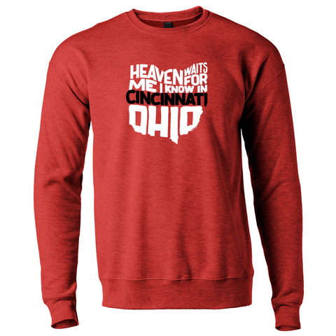 Heaven Waits...Cincinnati crewneck - red