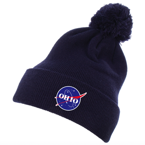 OHIO space agency pom pom beanie