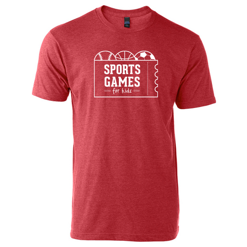 Sports Games for Kids logo tee - heather red - 513shirts.com / Cincinnati Shirts