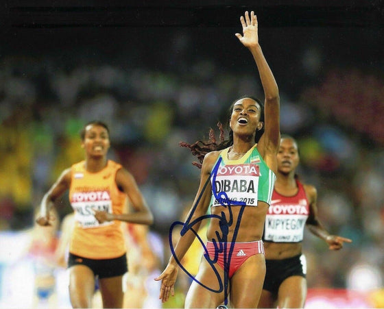 Genzebe Dibaba SIGNED 10X8 Photo GENUINE RIO Olympic Games AFTAL COA (D)