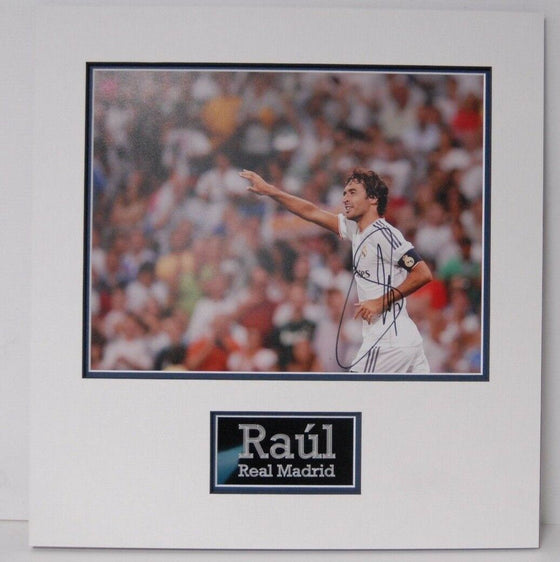 Raul Signed 14X11 Photo Real Madrid Mounted Photo Display AFTAL COA (E)