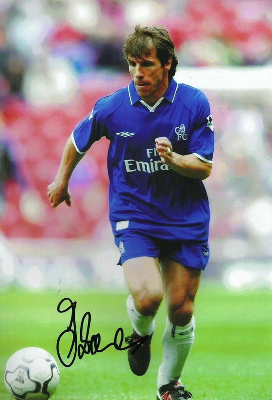 Gianfranco Zola Signed 12X8 Photo Chelsea FC Autograph AFTAL COA (1767)