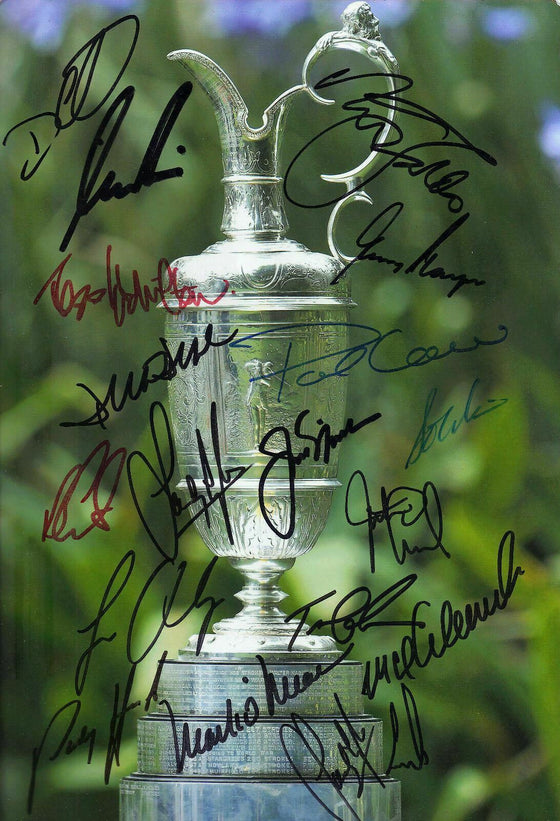 Open Claret Jug 12X8 Signed Photo Signed By 17 Nicklaus Player AFTAL COA (3089)