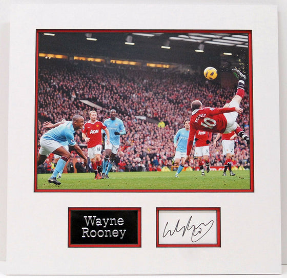 Wayne Rooney Genuine Hand Signed Photo Mount Display MANCHESTER UNITED (A)