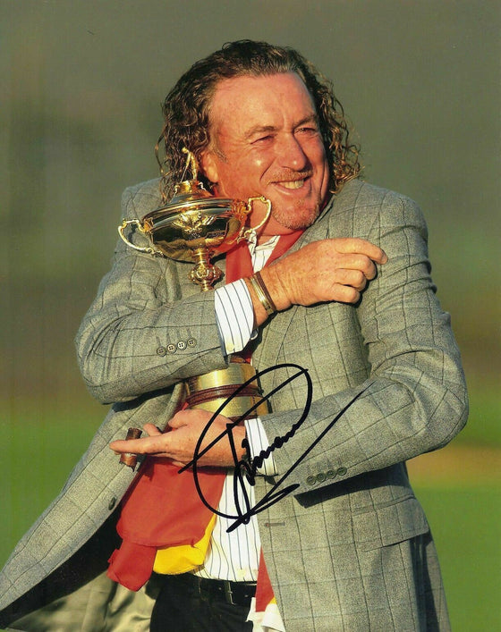 Miguel Angel Jimenez SIGNED 10X8 PHOTO Ryder Cup Trophy AFTAL COA (3028)