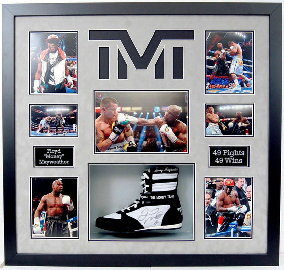 Floyd Mayweather Signed & FRAMED TMT Black Boxing Boot EXACT Proof AFTAL