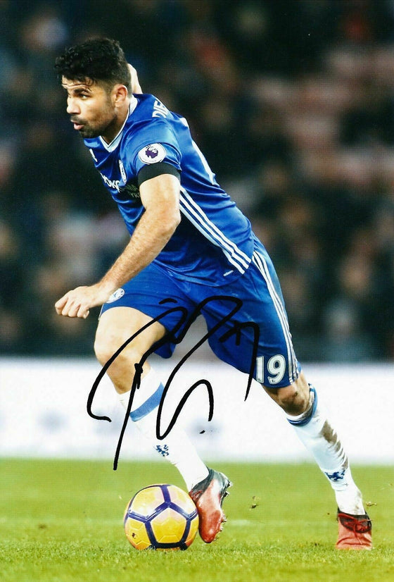 Diego Costa Genuine Hand Signed 12X8 Photo Chelsea FC Autograph (9009)