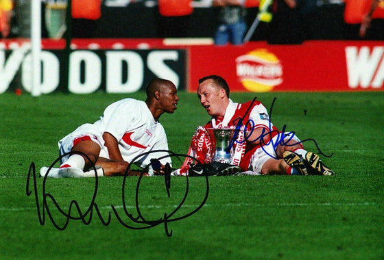Lee Dixon & Ian Wright Signed 12X8 Photo Arsenal F.C. AFTAL COA (9159)
