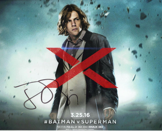 Jesse Eisenberg SIGNED 10X8 Photo Batman v Superman AFTAL COA (5159)