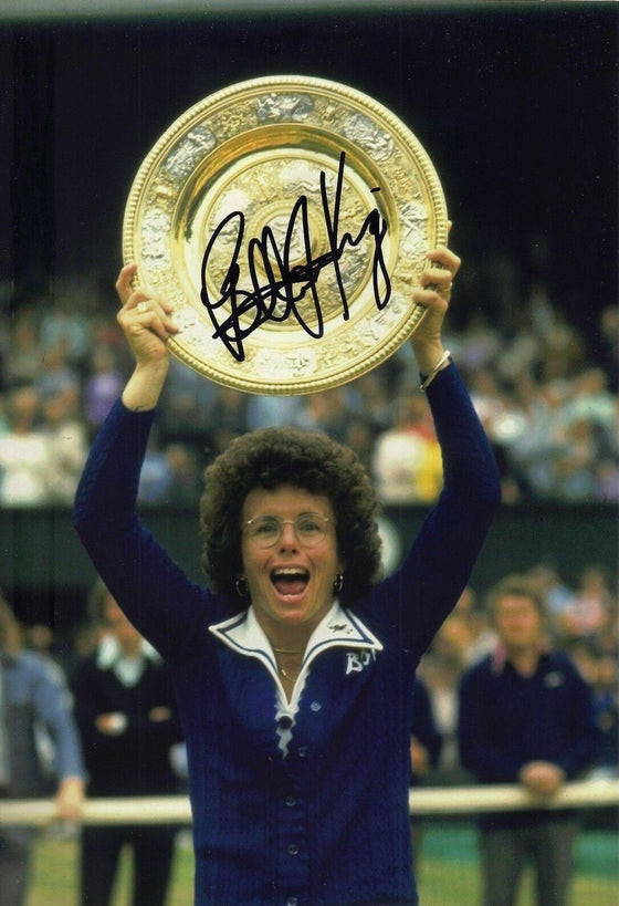 Billie Jean King Signed 12X8 Photo Wimbledon Genuine Signature AFTAL COA (J)