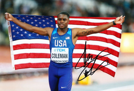 Christian Coleman Signed 12X8 Photo American Athlete AFTAL COA (A2)