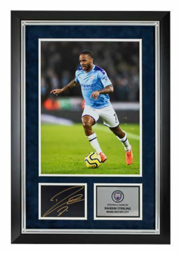 Raheem Sterling Signed & FRAMED Photo Mount England & Manchester City AFTAL COA