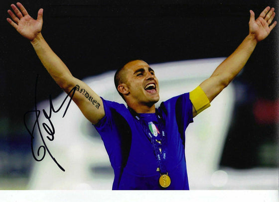 Fabio Cannavaro Genuine Hand Signed 12X8 Photo 2006 World Cup AFTAL COA (9032)