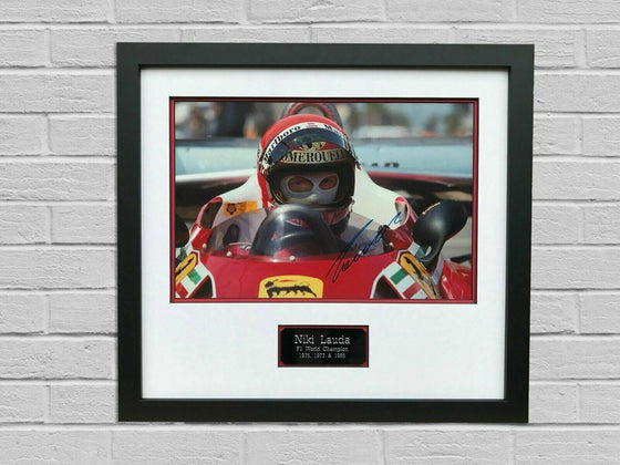 Niki Lauda Signed & FRAMED Photo Mount Display Formula One Ferrari AFTAL COA (C)