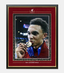 Trent Alexander-Arnold Signed & Framed 10X8 Photo Champions League Trophy COA