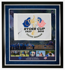 Greame McDowell SIGNED & Framed 2010 Ryder Cup PIN FLAG AFTAL COA