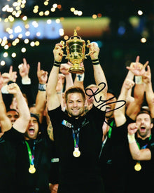 Richie McCAW Signed 10X8 Photo ALL BLACKS 2015 RUGBY WORLD CUP AFTAL COA (2362)
