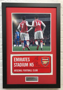 Pierre-Emerick Aubameyang & Henrikh Mkhitaryan SIGNED & FRAMED Arsenal F.C. Sign
