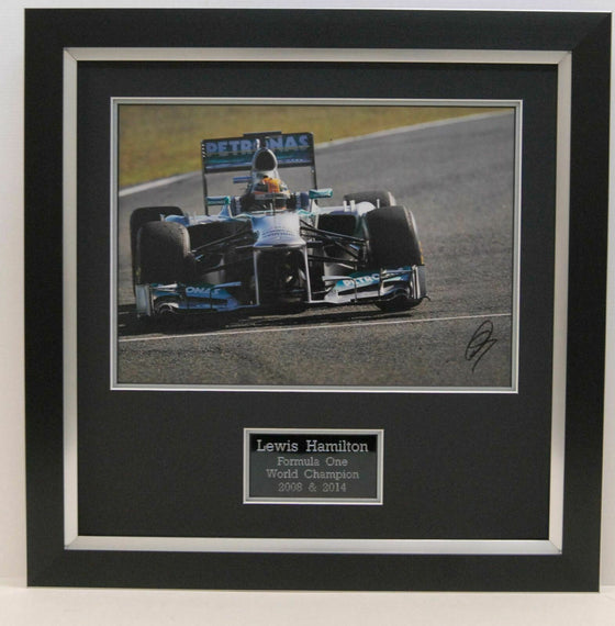 Lewis Hamilton Genuine Hand Signed FRAMED PHOTO MERCEDES (B)