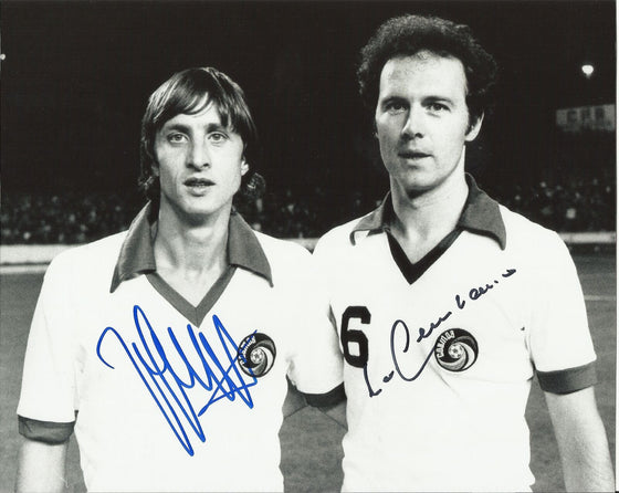 Franz Beckenbauer & Johan Cruyff Signed 10X8 Photo Proof AFTAL COA (1244)