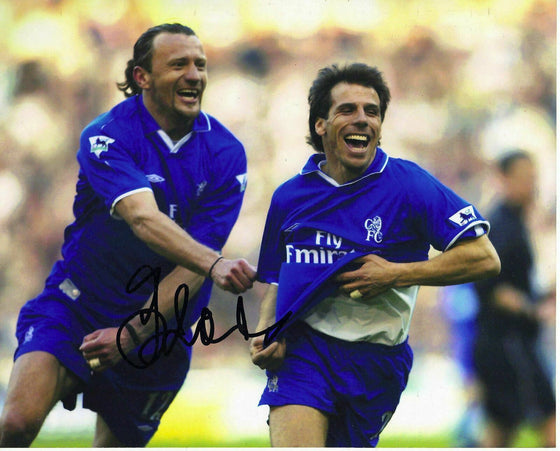 Gianfranco Zola Genuine Hand Signed 10X8 Photo Chelsea FC AFTAL COA (1150)