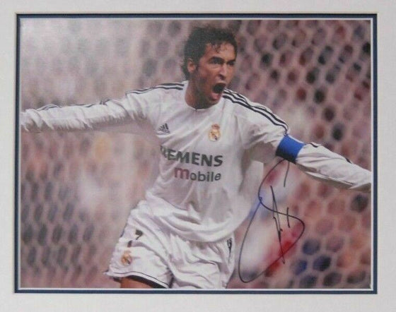 Raul Signed 14X11 Photo Real Madrid Mounted Photo Display AFTAL COA (F)