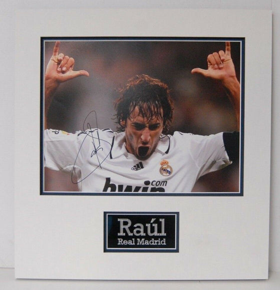 Raul Signed 14X11 Photo Real Madrid Mounted Photo Display AFTAL COA (G)