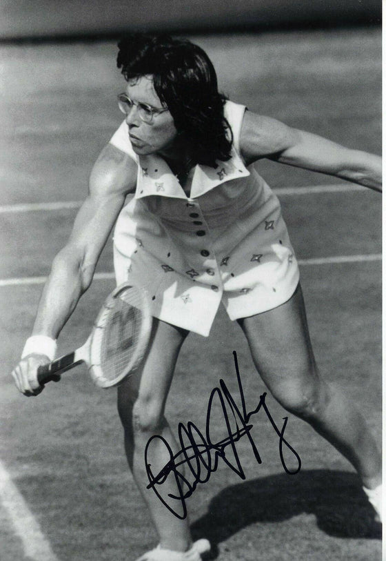 Billie Jean King Signed Autograph In Person 12x8 Photo Action Shot