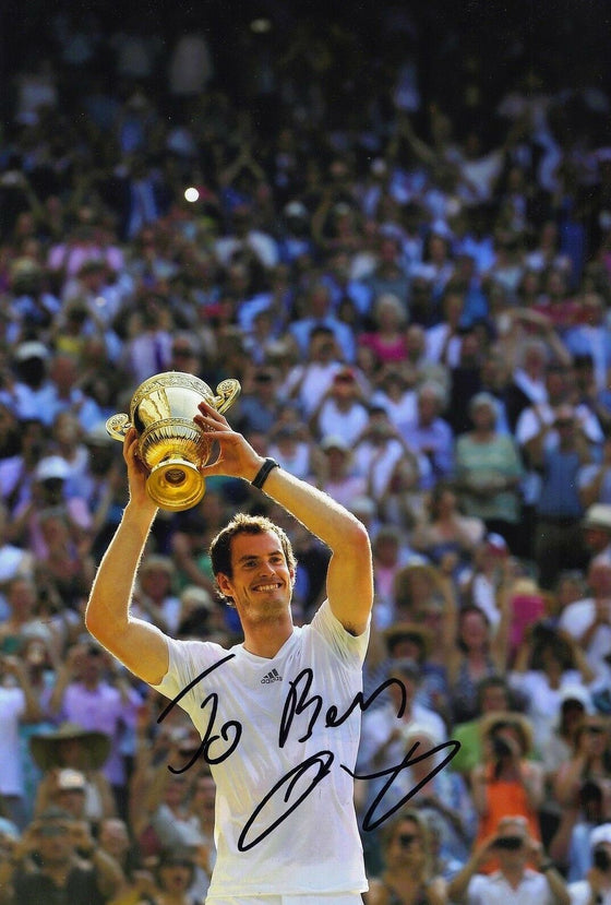 "Andy Murray Genuine Hand Signed 12X8 Photo WIMBLEDON 2013 ""DEDICATED TO BEN"""