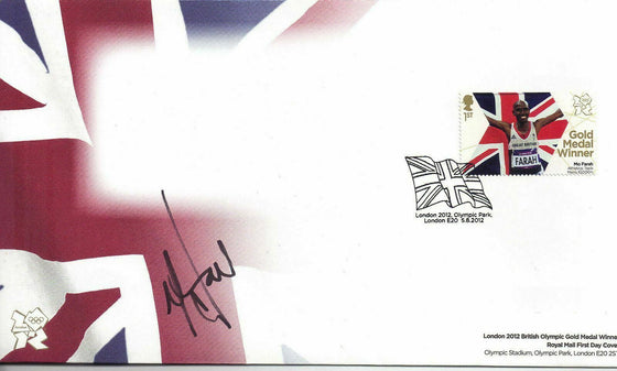 Mo Farah SIGNED OLYMPIC 1ST DAY COVER London 2012 Double Gold Medalist (Z)