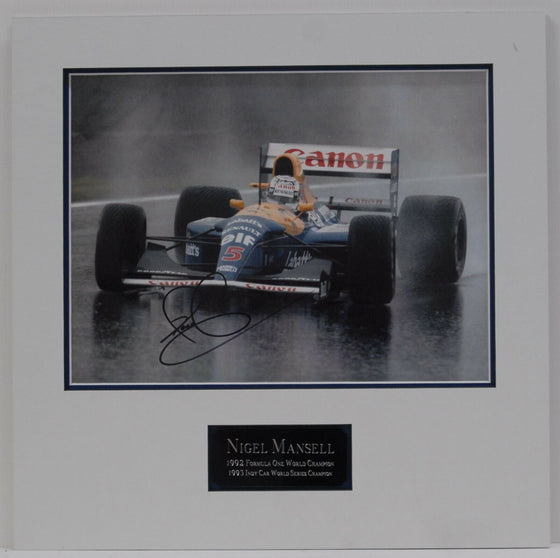 MOUNTED Nigel Mansell Original Hand Signed Autograph In Person 16X12 Photo