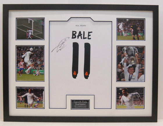 Gareth Bale Hand Signed Real Madrid Shirt FRAMED AUTOGRAPH GENUINE AFTAL (A)
