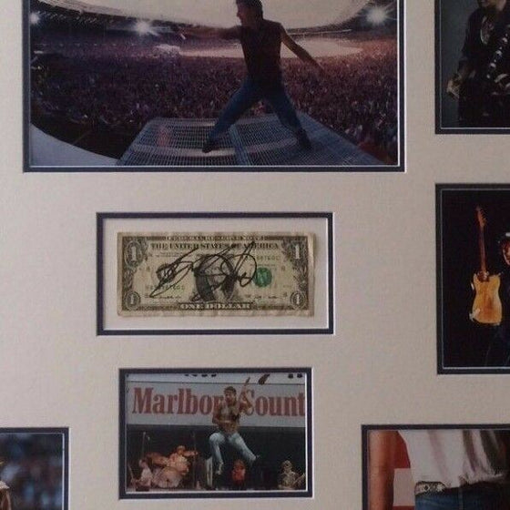 "Bruce Springsteen FRAMED Autograph Signed ""One Dollar Bill"" AFTAL COA (B)"