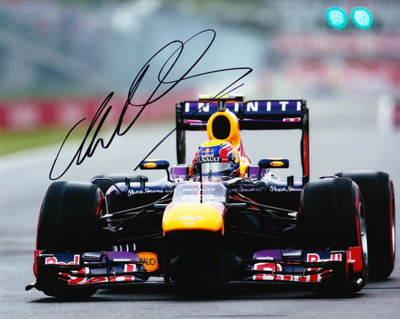 Mark Webber Signed 10X8 Photo  FORMULA 1 RACING REDBULL AFTAL COA (3503)