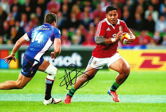 Manu Tuilagi Signed 12X8 Photo ENGLAND LEICESTER & Lions Rugby AFTAL COA (B)