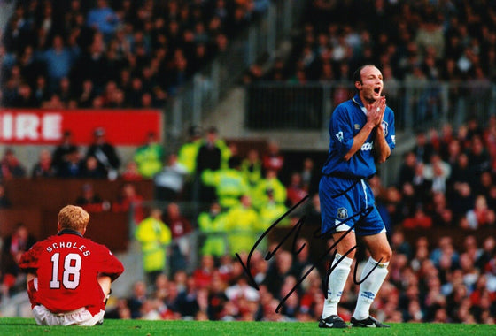 Frank Leboeuf Signed 12X8 PHOTO CHELSEA F.C GENUINE AUOGRAPH AFTAL COA (1679)