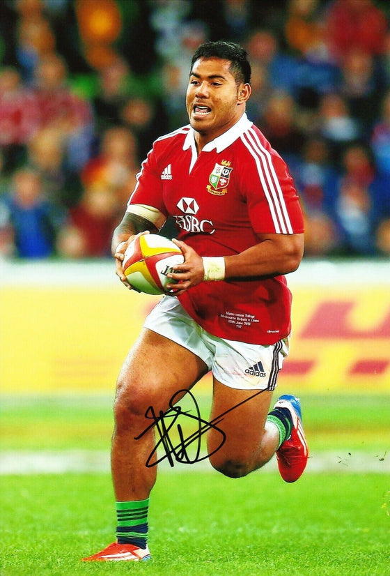 Manu Tuilagi Signed 12X8 Photo ENGLAND LEICESTER & Lions Rugby AFTAL COA (C)