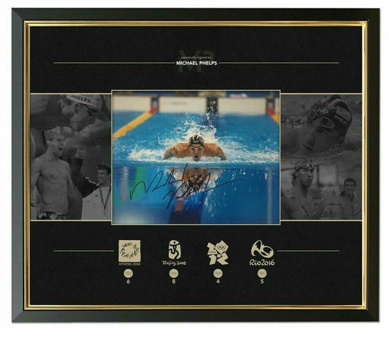 Michael Phelps Signed & Framed 10X8 Photo Olympic Memorabilia AFTAL COA