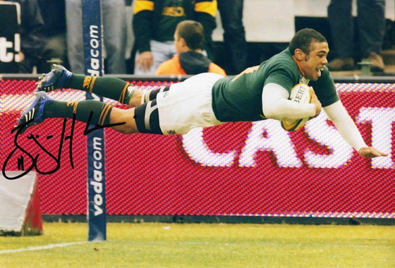 Bryan Habana Signed 12X8 Photo SPRINGBOKS South Africa AFTAL Certificate COA (H)