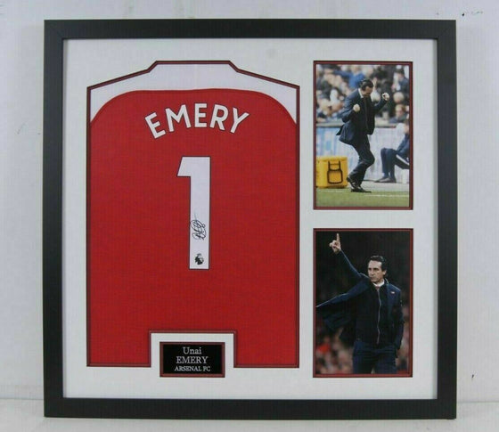 Unai Emery SIGNED & FRAMED Arsenal F.C. Shirt AFTAL COA (A)
