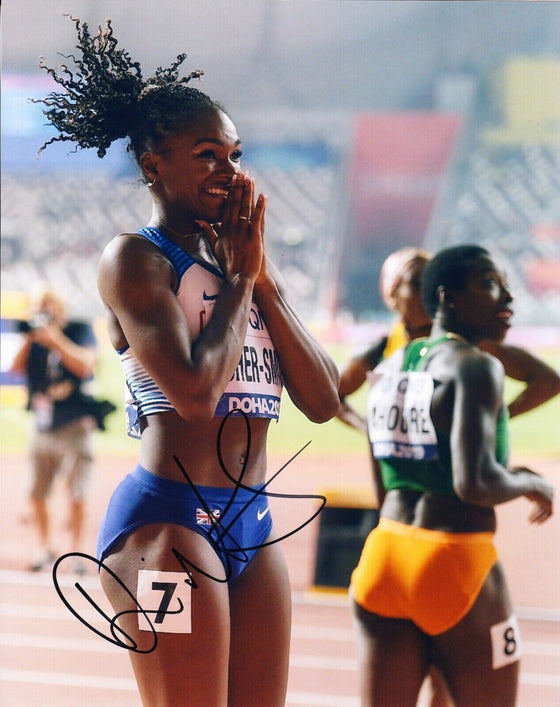 Dina Asher-Smith SIGNED 10X8 PHOTO World Championships DOHA AFTAL COA (J)