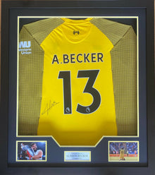 Alisson Becker Signed & Framed Shirt Liverpool FC Genuine Autograph AFTAL COA