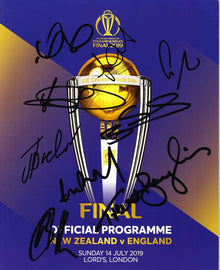 England 2019 Cricket World Cup FINAL Programme SIGNED BY 9 PLAYERS AFTAL COA